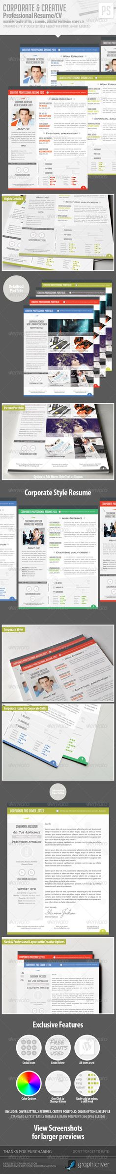 3 Page Business Resume With 3 Color Combinations   Business Resume
