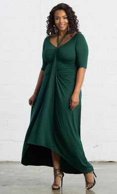 NEW Divine Draped Maxi Dress - Emerald Bay #PlusSize #Dress www.curvaliciousclothes.com