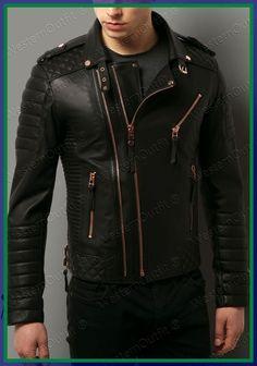 8bf333235f0 Details about Hot Men s Genuine Lambskin Leather Jacket Black Slim fit  Motorcycle jacket J18