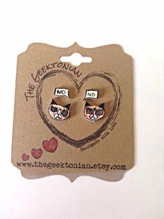 Grumpy cat earrings by TheGeektonian on Etsy, $8.00 Cute Gifts