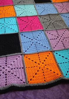Crocheted Starburst Patchwork Blanket close up