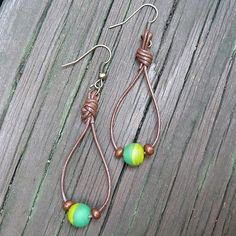Green Stripe Earrings  Dangle Earrings Green by ElectricPenguin, $7.00