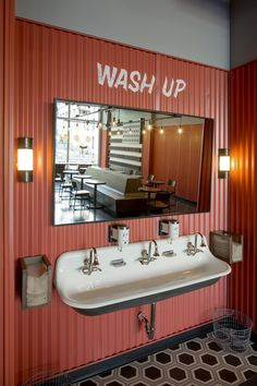 Rapt Studio helped rediscover own magic of J. Dawgs, Hot Dog Bistro in Salt Lake City Hand wash station at J. Dawgs Hot Dog Bistro in Salt Lake City. Hot Dog Restaurants, Downtown Restaurants, Bar Interior, Bathroom Interior, Studio Interior, Salt Lake City, Wc Public, Toilette Design, Restaurant Bathroom