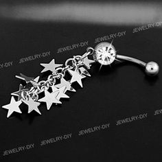 Waterfall Droplets Heart 316L Surgical Steel Freedom Fashion Belly Button Ring Sold Individually