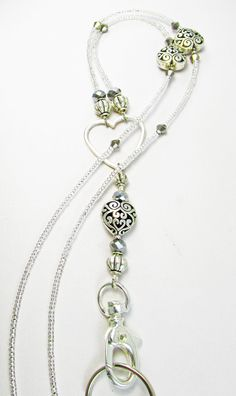 Crystal Clear Beaded Lanyard Hearts Galore LQ by LQexpressions Lanyard Necklace, Necklaces, Pendant Necklace, Bracelets, Beaded Lanyards, Eyeglass Holder, Glass Holders, Badge Holders, Key Chains