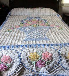 Chenille flower basket bedspread