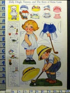 1922 Dolly Dingle Tommy Golf Sport Doll Paper Cutout Kitty Cat Art Ad AI83 | eBay