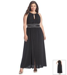 R&M Richards® Plus Size Keyhole Beaded Waist Gown