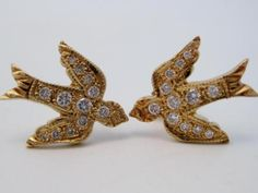 Antique-Pair-14K-Yellow-Gold-Diamond-Swallow-Sparrow-Bird-Stud-Earrings-No-Res