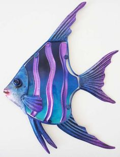 Purple blue strip angel fish metal and glass wall art Unusual and colourful design Constructed from a metal frame that holds the. Colorful Fish, Tropical Fish, Sea Life Art, Watercolor Fish, Caran D'ache, Fish Drawings, Angel Fish, Beautiful Fish, Glass Wall Art