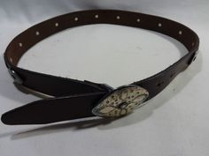 HAROLDS Italian Made Small Brown Leather S Belt Silver Buckle Hook Vintage #Harolds #Casual