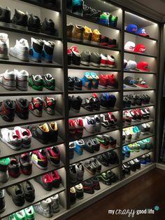 Dre's closet on the set of black-ish Shoe Wall, Shoe Room, Hypebeast Room, Sneaker Storage, Shoe Store Design, Shoe Drawer, Closet Shoe Storage, Shoe Closet Organization, Men Closet