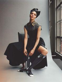 The Prada Perspective Publication: Vogue UK March 2018 Model: Miuccia Prada, Mariacarla Boscono Photographer: Jamie Hawkesworth Fashion Editor: Edward Enninful Hair: Sam McKnight Make Up: Lisa Butler
