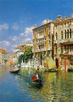 Rubens Santoro (1859-1942), Gondole longeant le Palais Cavalli-Franchetti, Venise.