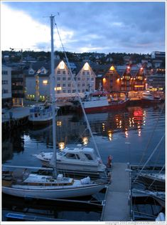 Tromsø at midnight. Tromso is Norway's largest city north of the Arctic Circle. This is the home of my 7th grade pen-pal, Jan Schumacher, who is still a friend today.