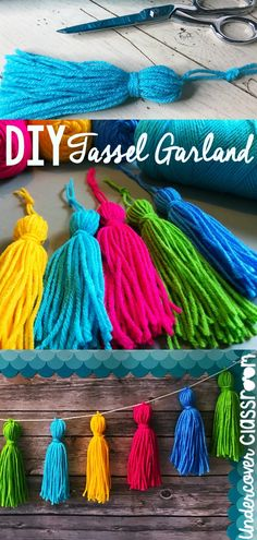 Learn how to make your own tassel garland from yarn with this step by step photo tutorial. Spruce up your classroom in no time. Yarn tassel garlands are the perfect accent to a bulletin board, and they are much easier to make than you think! Diy Tassel Garland, Pom Pom Garland, Garlands, Yarn Pom Poms, Tassles Diy, Diy Girlande, How To Make Tassels, Things To Make With Yarn, Making Tassels