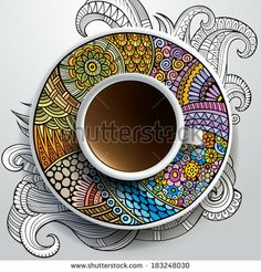 Vector illustration with a Cup of coffee and hand drawn ornament on a saucer and background by balabolka, via Shutterstock