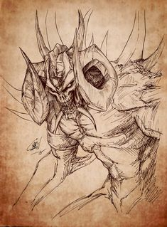Diablo I sketch-I don't see enough art of his first form [OC] [fan art] Demon Drawings, Creepy Drawings, Dark Art Drawings, Creature Drawings, Creepy Art, Monster Sketch, Monster Art, Fantasy Character Design, Character Art