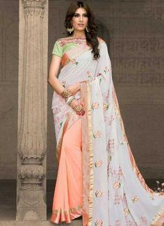 White Peach Embroidery Work Georgette Banglori Silk Fancy Designer Half Sarees http://www.angelnx.com/Sarees/Party-Wear-Sarees