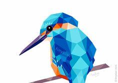 Ijsvogel, geometrische druk, Originele illustratie, animal print, Minimal art, Kunst van de Muur