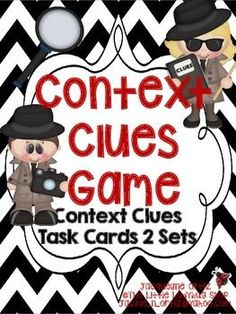 Fabulous Context Clues Task Card Game 2 Sets {Upper Elem. Grades} Colored & BWIncluded are:-Recording Sheet for Context Clues 16 Total task cards on context clues8 Context Clue Cards (Green) 8 Context Clue Cards (black & white)8 Context Clue Cards (blue)8 Context Clue Cards (black & white)Answer Keys for both se...