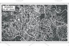 #Jerusalem #Israel #City #Map in #Retro  by Igor Sorokin on @creativemarket