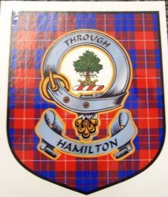Hamilton Clan Tartan Clan Hamilton Badge Sticker $5.50 ~ Hundreds of Clans Available at ForEverythingTartan