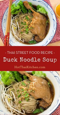 Here's a recipe for a popular Thai street food that you can easily make at home. The soup is flavoured with aromatic mix, and the duck is flavourful . Asian Noodle Recipes, Easy Asian Recipes, Thai Recipes, Yummy Pasta Recipes, Great Recipes, Kitchen Recipes, Cooking Recipes, Authentic Thai Food