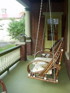 My Vintage Pad Home Tour: Stacy Leigh Atelier Clarksville Missouri Willow Furniture, Porch Furniture, Primitive Furniture, Rustic Furniture, Garden Furniture, Rustic Chair, Missouri, Wicker Swing, Sticks Furniture
