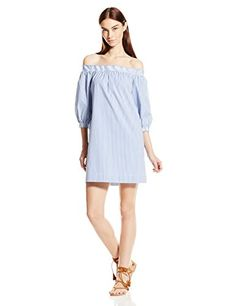 b779aa1cdfe4 Trina Turk Women s Neville St Tropez Striped Shirting Off-The-Shoulder