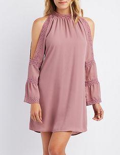 Crochet-Inset Cold Shoulder Shift Dress