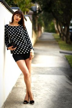 3cbcd5311c2 Discover this look wearing Black Polka Dot Zara Tops