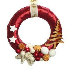 Karácsonyi kopogtató bordó alapon - Szárazvirág díszek webáruháza