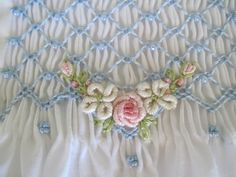 bullion stitched embroidered roses and flowers, Hand smocked by MC