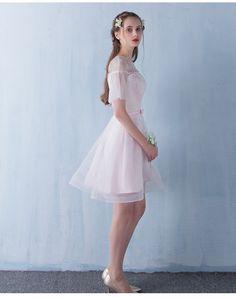 2016 Мода Sweet Pink Короткие Выпускные Платья Scoop Труба Рукава Строки…