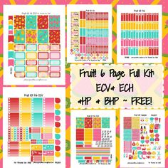 NEW Fruit KIT! | Free Printable Planner Stickers from plannerproblem.wordpress.com! Download for free at https://plannerproblem.wordpress.com/2016/08/13/fruit-kit-free-printable-planner-stickers/