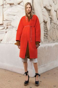 Chloé Pre-Fall 2014, belted coat, ankle-tie wedges, knee-length trousers