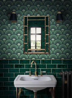 bold green bathroom design with green wallpaper and green subway tile, vintage bathroom with pedestal sink, Unique & Daring Design For Maximalist Lovers - Divine Savages Wallpaper Art Deco, Bathroom Wallpaper, Designer Wallpaper, Pattern Wallpaper, Wallpaper Ideas, Geometric Wallpaper, Gold Wallpaper, Wallpaper Designs, Interior Wallpaper