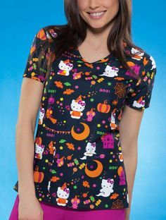 Hello Kitty Halloween Scrubs, would be so cute for work! Halloween Scrubs, Medical Scrubs, Veterinary Scrubs, Nursing Scrubs, Stylish Scrubs, Hello Kitty Halloween, Green Scrubs, Cute Scrubs, Scrubs Uniform