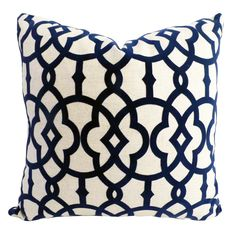 """Overall dimensions: 20""""w x 20""""h  Navy cut velvet pattern on linen color background, back in ivory cotton/poly blend, zipper at bottom, 90/10 Feather/Down Insert  Order Factory Direct"""