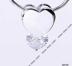 13x19mm 925 Sterling Silver Heart Drop Clear Crystal Rhinestone Jewelry  Charms Pendant