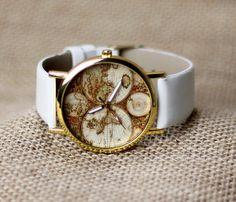 White leather Unisex world map watch bracelet wrap fashion jewelry wristwatches wrist watches women mens men on Etsy, $2.98