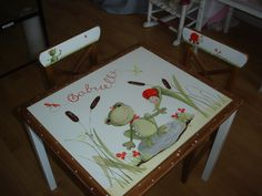 Table and chairs hand painted for children room,www.la-fee.ca