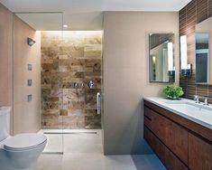 Like the darker shower tile with very light floor. Philadelphia Master Bathroom - contemporary - bathroom - philadelphia - k YODER design, LLC Beige Tile Bathroom, Brown Bathroom, Master Bathroom, Bathroom Colours, Bathroom Vanity Designs, Bathroom Design Small, Bathroom Ideas, Small Bathrooms, Bathroom Pictures