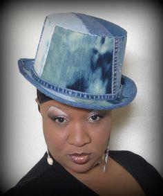 Denim Top Hat made by T'NETTE. Designer Tinnette Hemmons