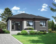 Compact Modern Style - 80796PM | Architectural Designs - House Plans House Layout Plans, Small House Plans, House Layouts, Contemporary House Plans, Modern House Design, Front House Landscaping, House Design Pictures, Modern Bungalow House, Village House Design