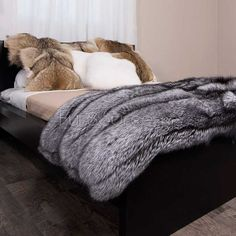 Shop FurSource for the best selection of Premium Full Pelt Fur Blankets. Buy Custom Full Pelt Silver Fox Fur Blanket / Fur Throw by FRR with fast same day shipping. Fur Bedding, Fur Accessories, Fur Blanket, Fox Fur Coat, Fur Coats, Fur Throw, Soft Blankets, Fur Fashion, Cool Rooms