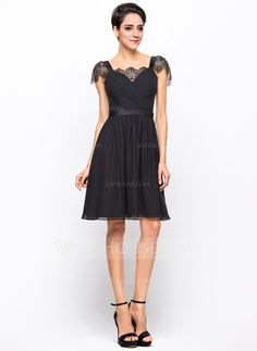 A-Line/Princess Sweetheart Knee-Length Chiffon Charmeuse Cocktail Dress With Ruffle Lace (016055959)