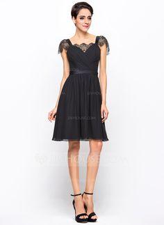 A-Line/Princess Sweetheart Knee-Length Chiffon Charmeuse Cocktail Dress With Ruffle Lace (016055959)