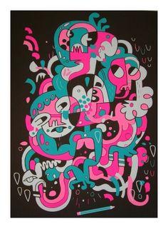 Analog Fest by Jon Burgerman Doodle Inspiration, Doodle Ideas, Line Doodles, Graffiti Doodles, Picasso Style, Skateboard Art, Comic Books Art, Cartoon Art, Artist At Work